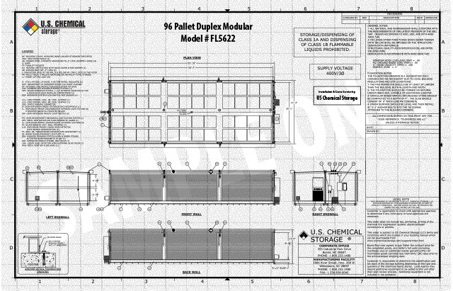96 Pallet Duplex Modular US Chemical Storage FL5622
