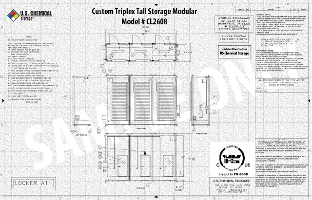Custom Triplex Tall Storage Modular US Chemical Storage CL2608