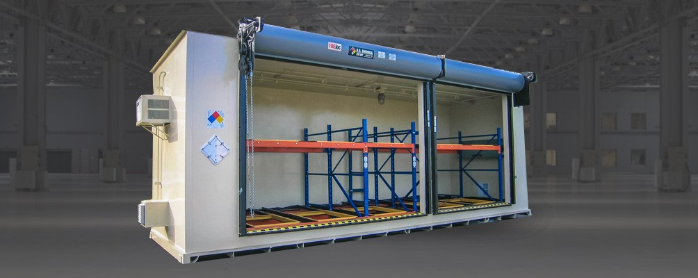 Pallet and Tote Chemical Storage Building with push-back racking and ventilation