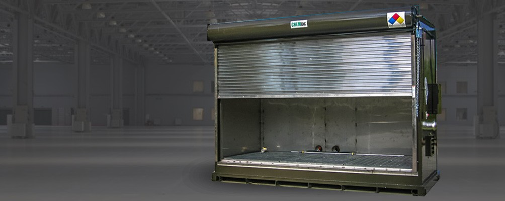 Non Fire Rated roll-up garage door with sump containment