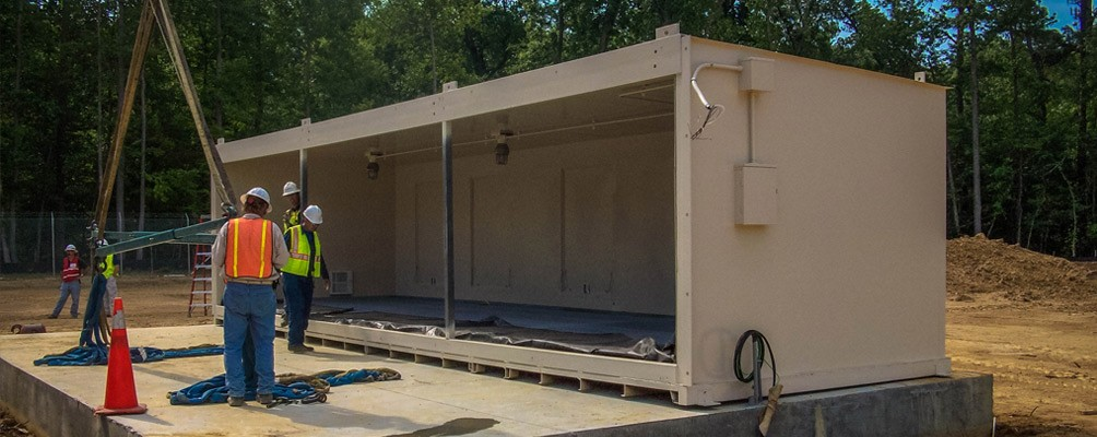Duplex Storage Building with sump containment and explosion proof lighting