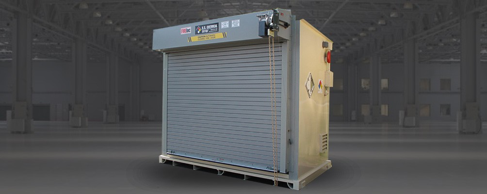 Fire Rated Chemical Storage Building with single roll up garage door accessory and fire alarm system by US Chemical Storage