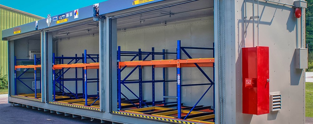 Pallet and Tote Chemical Storage Building with push-back racking and fire extinguisher