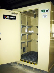 chemical storage shelves