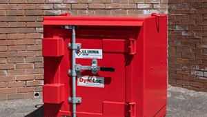 bright red Dynaloc explosive storage magazine