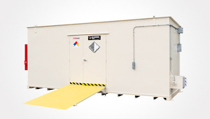 Bleached Bone color U.S. Chemical Storage rental building with a yellow loading ramp