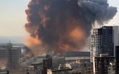 Explosion caused by improper storing of the chemical ammonium nitrate