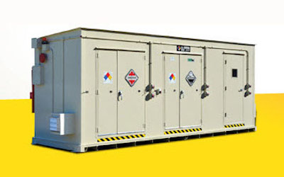 Chemical storage container for lithium batteries