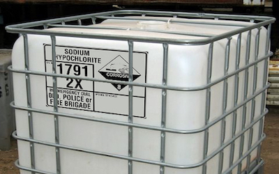 Storage for sodium hypochlorite bleach storage
