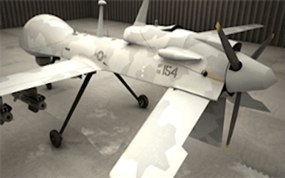 White military drone aircraft sitting in a hangar
