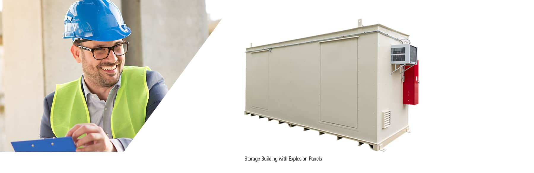 chemical storage unit with explosion panels