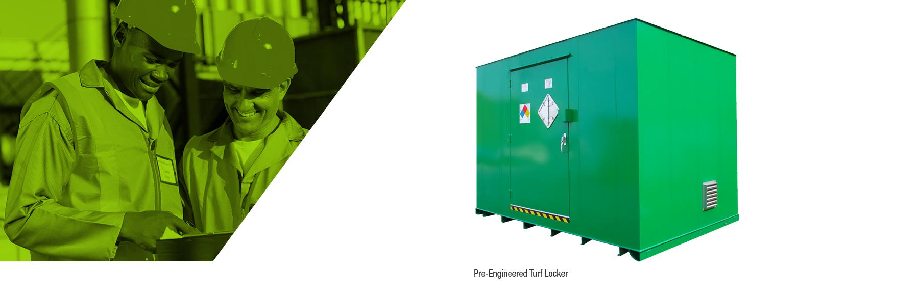 Pre-engineered turf locker
