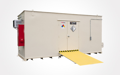 chemical storage unit with ramp