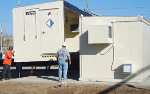 A U.S. Chemical Storage modular building with non-combustible construction being installed onsite for the California Dept of Fish and Game