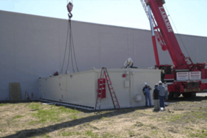 a chemical storage building installation onsite
