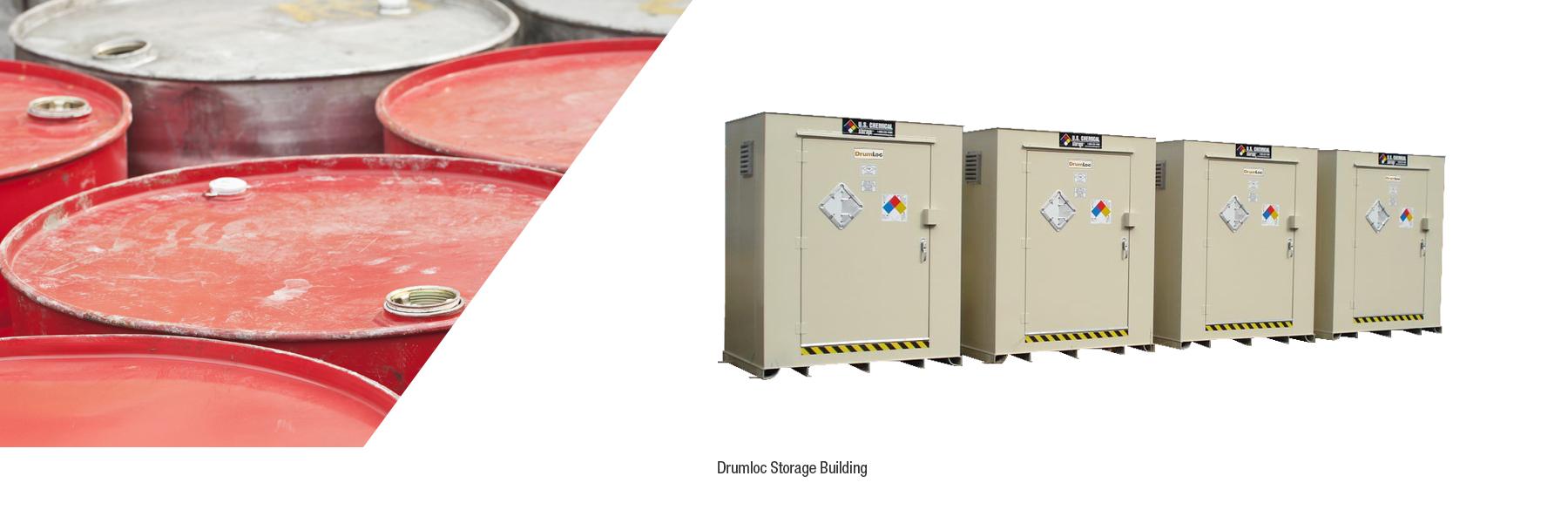U.S. Chemical Storage drum storage building.